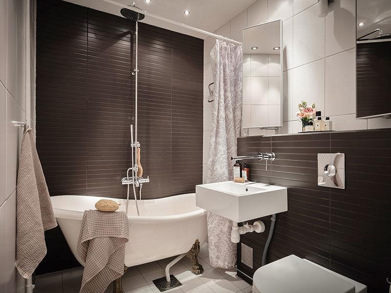 Элегантная чёрно-белая квартира с уютным балкончиком в Швеции (73 кв.