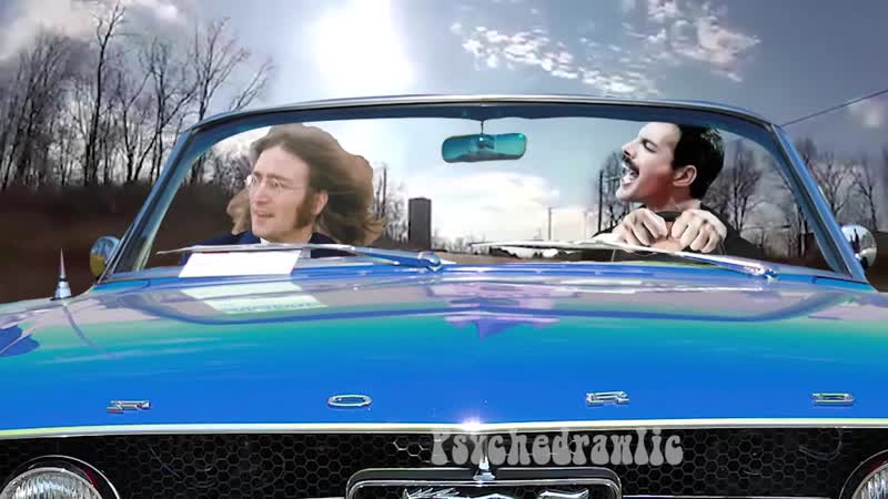 Freddie Mercury leans how to drive with John Lennon