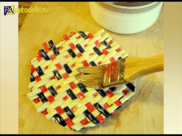 Плетение крышки из бумажных трубочек способом Художественная штопка - урок 6weave caps out of paper