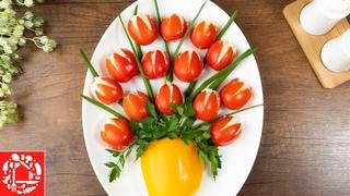 Шикарный Салат-Закуска «Ваза с тюльпанами»! Очень просто и эффектно!