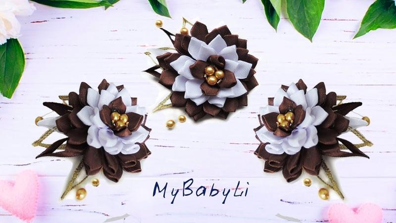 Цветы из узких лент Цветы канзаши из лент 1 3 см для резинки заколки или ободка Mybabyli