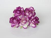 000024 Кудрявые розы 4 см фиолетовый + белый  1 шт - 23 руб  диаметр 4 см высота 2 см длина стебля 7 см