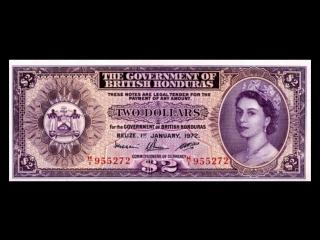 All british honduras dollar banknotes_1952 to 1973 elizabeth ii issues