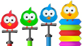 Cute Ducks & their Colored Funny Air Pumping Machine   Fun Cartoon Series for Kids by KidsCamp