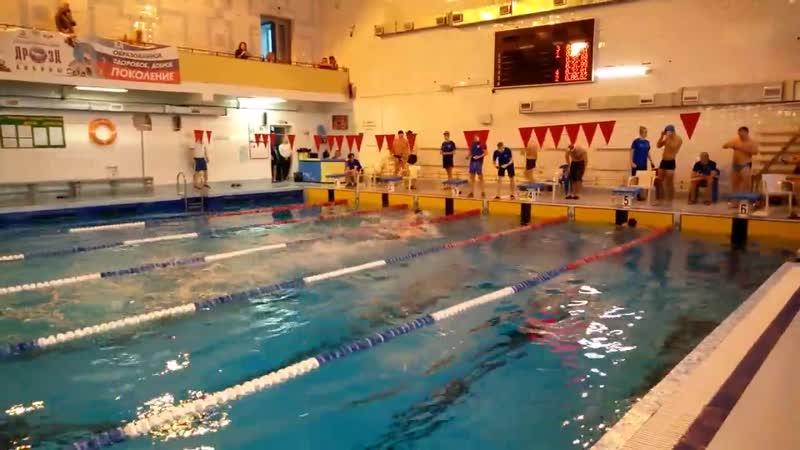 Плавание - 50 м (стиль вольный). Плыву на третьей дорожке. Время: 38:44.