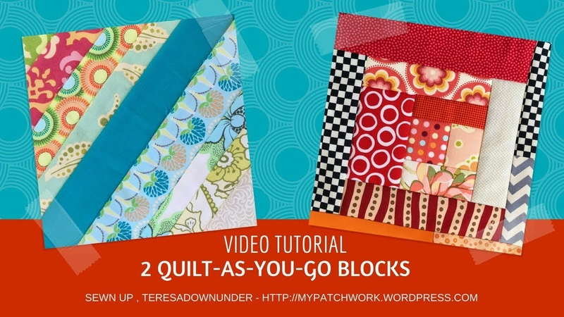 2 Quilt as you go QAYG quilt blocks
