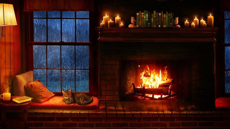 Cozy Cabin Ambience Rain and Fireplace Sounds at Night 8 Hours for Sleeping Reading Relaxation