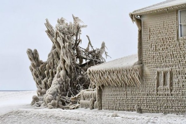 Ураганный ветер и 5-метровые волны превратили прибрежные дома на озере Эри в сюрреалистических ледяных истуканов