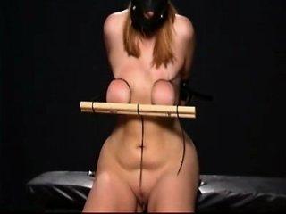 Brutal master kat slut nipple torture tits needle with bondage&spunk