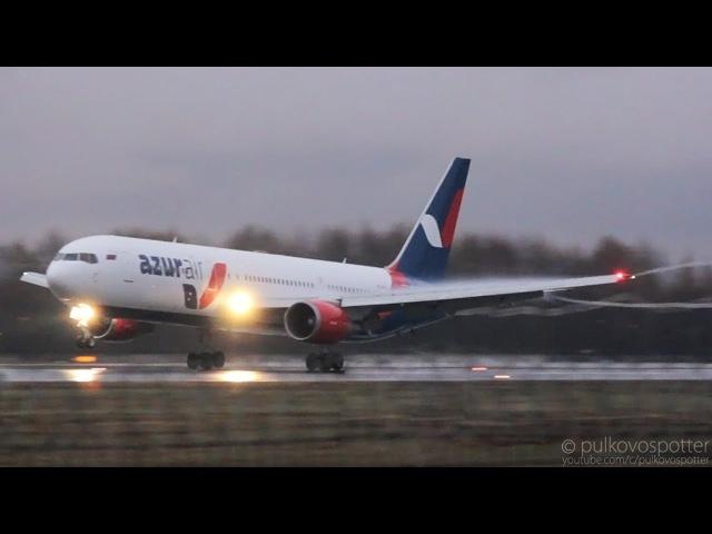 Wing condensation vortex snakes   Azur Air Boeing 767-300ER   rainy evening landing