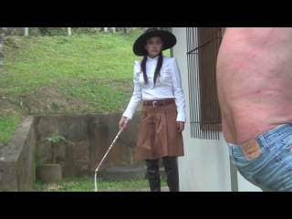 White whipping slave near wall by goddess diosa.