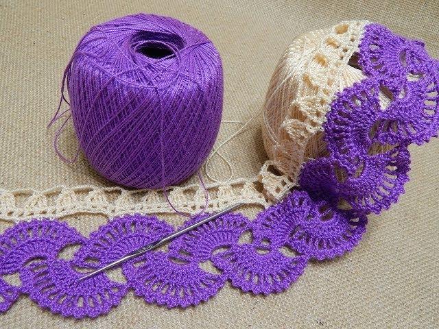 Orilla 14 Abanicos dos colores Crochet parte 1 de 2