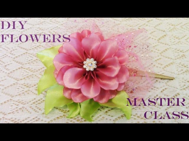 DIY accesorios de moda flores moños en cintas de raso y organza para el cabello