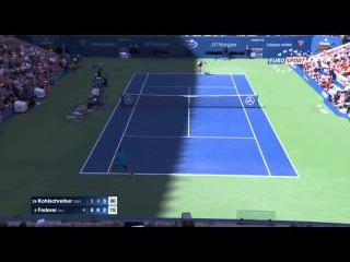 Kohlschreiber VS Federer - FEDERER FANTASTIC POINT !!! - US OPEN 2015