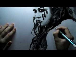 Рисунок карандашом Этайн (из фильма Центурион)