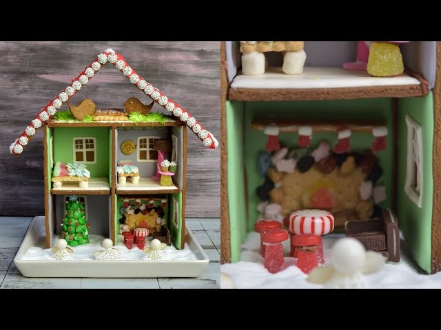 GINGERBREAD DOLL HOUSE WITH MINI CANDY FURNITURE, HANIELA'S