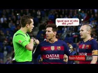 """Lionel Messi al árbitro del Espanyol-Barcelona: """"Ya estás igual que el día ¿no?"""" • 2016"""