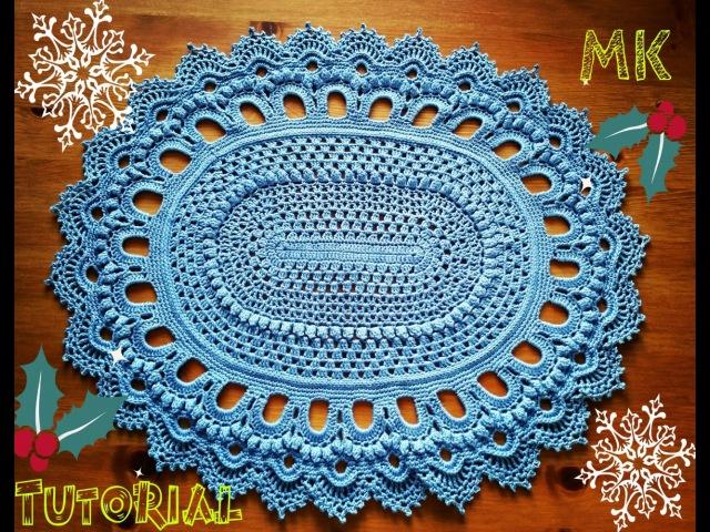 Овальный ковер из шнура 4 ряд Crochet oval rug for beginners row 4