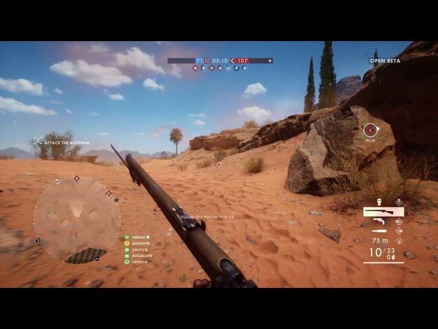 Battlefield 1 PS4 Multiplayer Open Beta Gameplay | Senai Desert 1080P60FPS Sniping