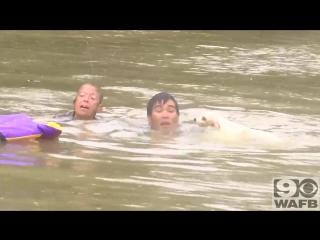 Женщину с собакой спасли в последние секунды при потопе в американском Батон-Руж.