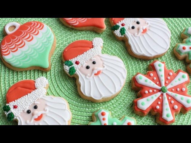 3 Christmas Cookie Designs using Wilton Cookie Cutters Santa snowflake ornament cookies