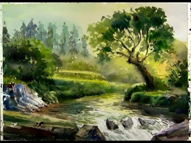 Watercolor painting Sunshine on the Forest Stream