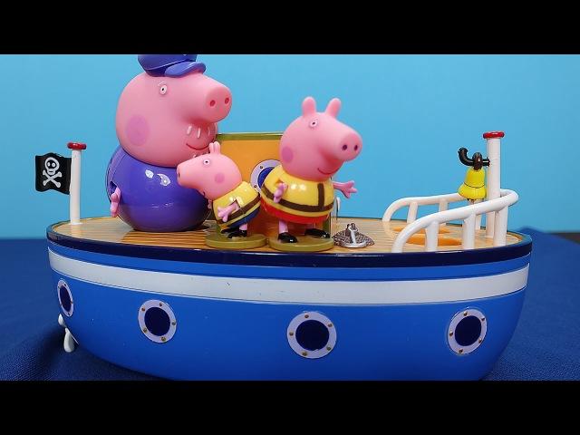 Peppa Pig in italiano Peppa nonno Pig e George salvano piccolo squalo Peppa sulla barca del nonno