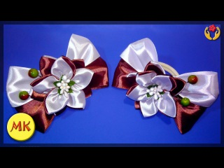 How to make elastic bands with bows and kanzashi flowers A chocolate mood (ENG), DIY, tutorial