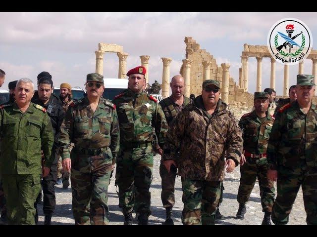 Mr Gen Fahd Jassem al Freij defense minister's visit to the city of Palmyra 04 03 2017
