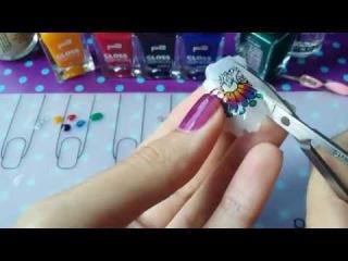 Tie-dye + stamping mani, gradient tints - Реверсивный стемпинг, градиент, акварельные краски