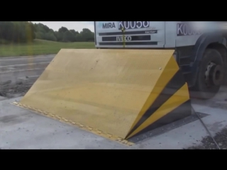 Barrier for forced stop of trucks, crash