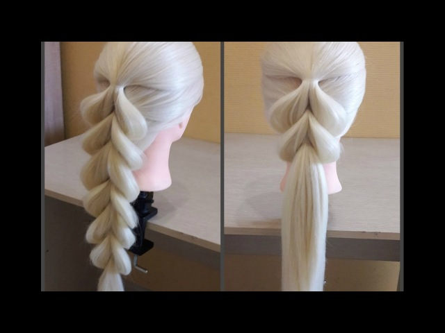 Французская коса в обратном положении🌺Легкий способ самой себе сделать косу Коса на резинках