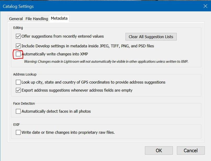 Убираем галочку Automatically write changes into XMP