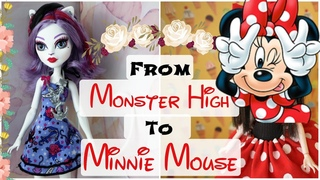 From MONSTER HIGH To MINNIE MOUSE / Doll Repaint / How To Customize Doll, Draw Face Speedpaint