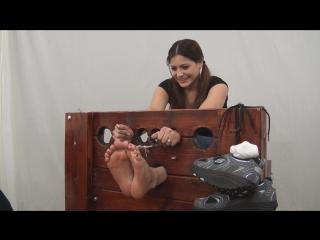 WayTooTicklish-Vivian Ireene Pierce Tickled in the Stocks Bare Feet