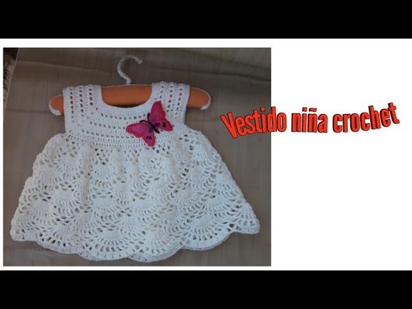 Vestido niña a crochet muy fácil todas las tallas.