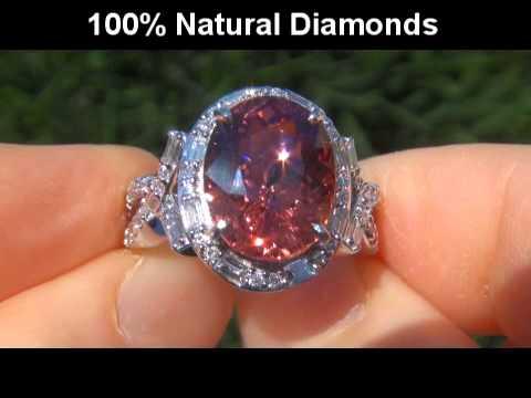 ESTATE 9.80 Carat VVS2 Natural Pink Tourmaline Diamond 14k White Gold Vintage Ring
