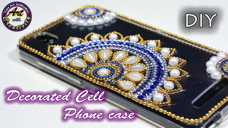 How to make DIY Cell phone case decoration(Back cover)   Beaded phone Case   Art with Creativity 226