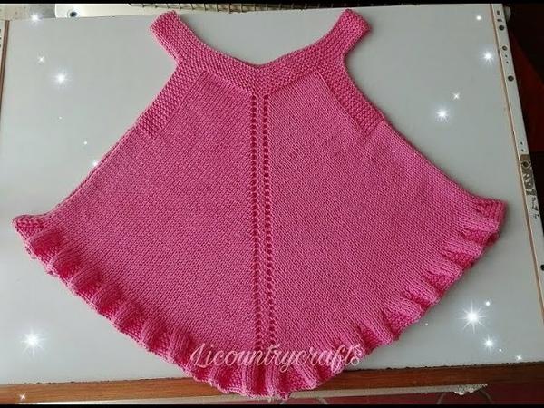 Vestido para niña tejido en dos agujas