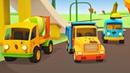 Coches en el autolavado Vehículos de servicio Dibujos animados