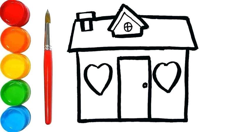 Cara Menggambar dan Mewarnai rumah mainan Menggambar dan mewarnai mainan untuk anak anak