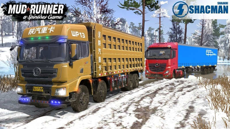 Spintires: MudRunner - SHAANXI SHACMAN DELONG X3000 Towing a Truck on a Snowy Road