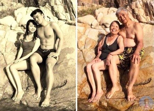 То, над чем не властно время, влюбленные пары и просто друзья воссоздают фотографии больше чем 20-летней