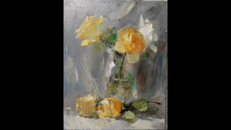 Рисуем розы мастихином Мастер классы по живописи масляными красками художника Вугара Мамедова