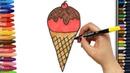 Как нарисовать мороженое с конфетами   Раскраски детей HD   Рисование и окраска  Рисование для детей