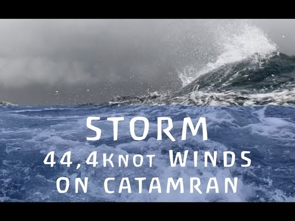 Catamaran Sailing Fast in STORM 44 4 Knot Winds PRIVELEGE 495