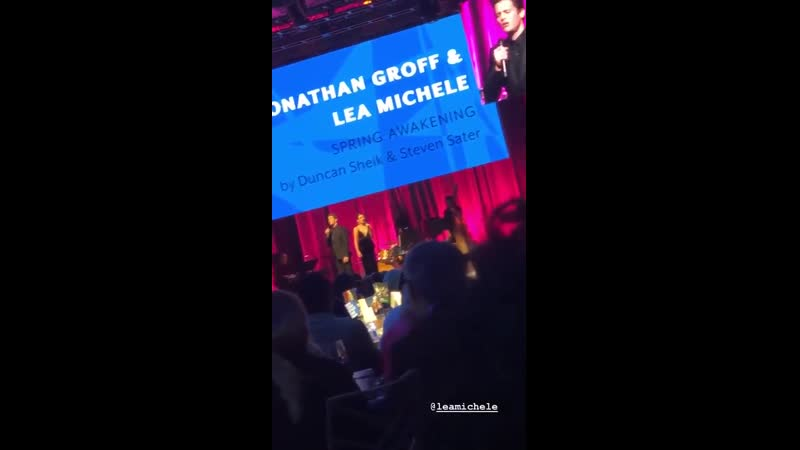 Jonathan Groff and Lea Michele performing at New York Stage and Film's Winter Gala