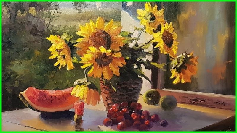 Видео урок по живописи маслом Подсолнухи полная версия 79857776200