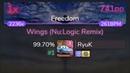 [Live] RyuK   Birdy - Wings (Nu:Logic Remix) [Freedom] HDDT 99.70% { 1 741pp 1❌} - osu!