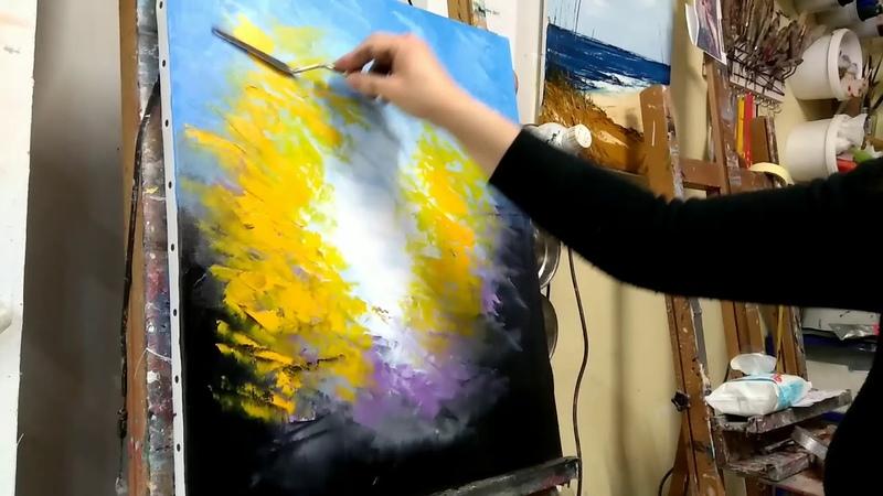 Cours de peinture au couteau facile, la forêt en automne par Nelly Lestrade